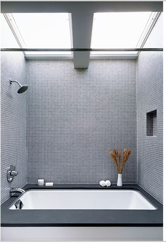 grey mosaic tile - just looks so relaxing…