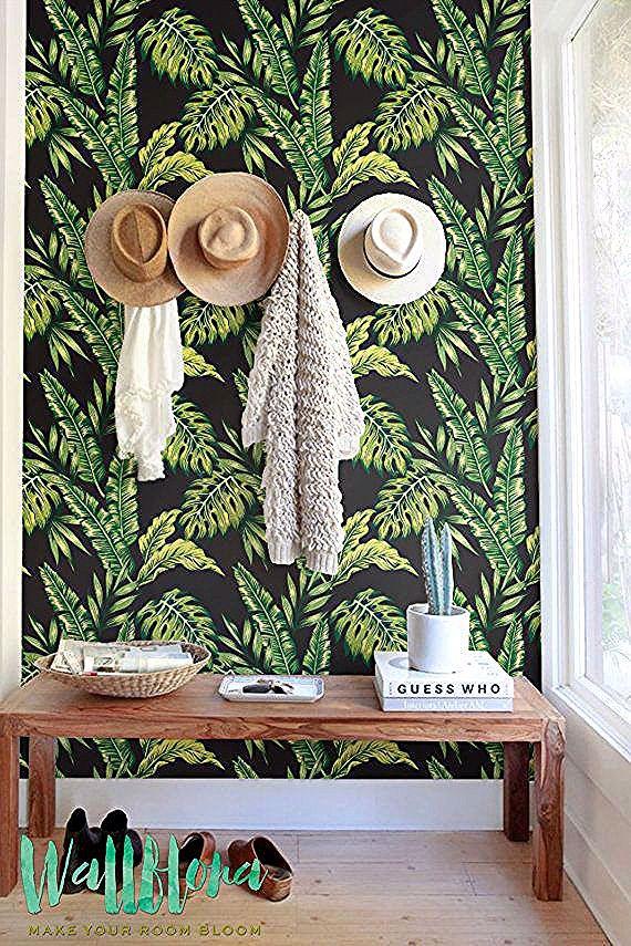Monstera Und Cyca Verlasst Wallpaper Abnehmbare Von Wallflorashop Tropical Wallpaper Wall Wallpaper Removable Wallpaper