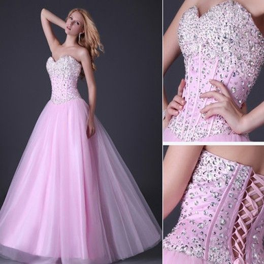 Stunning Sequins Beaded Corset Evening Formal Ball Gown Party Prom Dresses Long | eBay