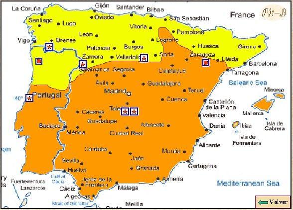Línea de separación de los territoris cristianos con Al Andalus a comienzos del siglo X.