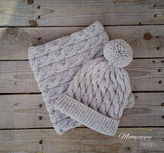 Cable Knit Hat & Snood Knit Beanie Hat Knit Cowl Bobble