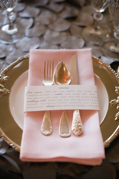 menu card, pink and gold table setting Great to use and change color for thanksgiving and Christmas!!