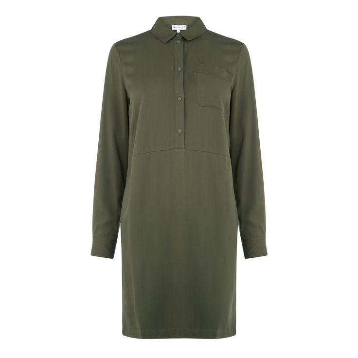 Warehouse, POPPER PLACKET SHIRT DRESS Khaki 0