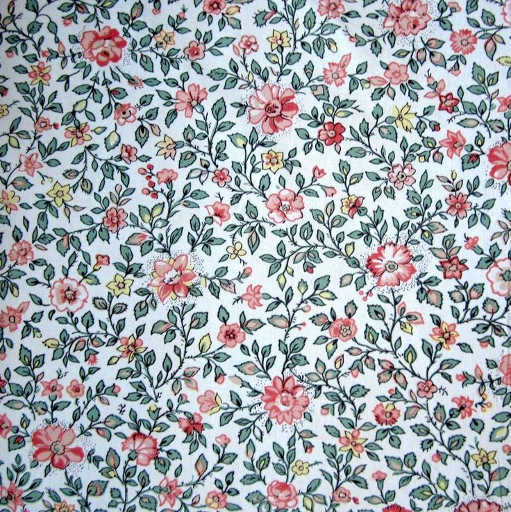 Vintage Sanderson Dimity Cotton Fabric Curtains floral ditsy pink green 4mx1m
