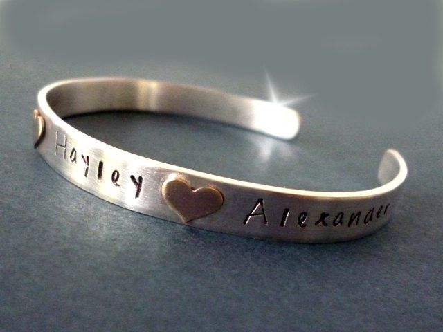 Bangle with Childrens Names, Personalised Bangle with Names, Childrens Names Bangle, Silver and Rose Gold Bangle. Personalised Gift for Mum by YujuUK on Etsy Made for a special lady I know ;-)