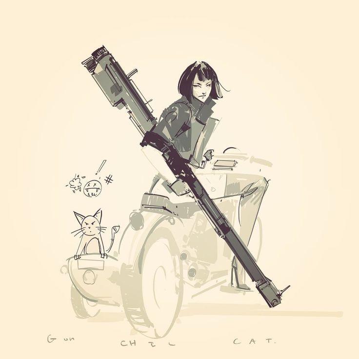 """cat gun chic """"£!!, richard anderson on ArtStation at https://www.artstation.com/artwork/DmEq0"""