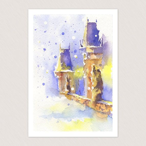 Christmas card with winter Prague view - nice greeting vintage card, Christmas gift $4.50 USD  https://www.etsy.com/listing/171327183/christmas-card-with-winter-prague-view?ref=shop_home_active