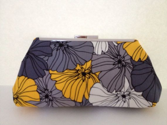Grey, Yellow Floral Clutch Purse with Nickel/Silver Finish  Metal Clasp, Bridesmaid, Wedding, Special Occasion, Floral Purse, Bag on Etsy, $26.00