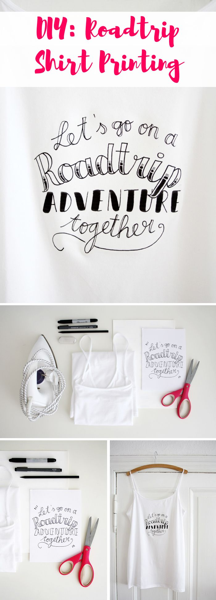 """Roadtrips and adventures, this is what summer is about! Come and join us for an easy and super fun creative project and print your own handlettered shirt for your next journey. Volkswagen, Luloveshandmade and many other bloggers share even more inspiration in the """"DIY Bloggers for Volkswagen""""-board: https://de.pinterest.com/volkswagen/diy-bloggers-for-volkswagen/"""