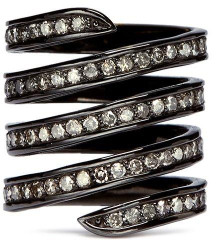 LYNN BAN Diamond pavé coil ring