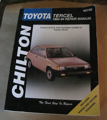 Chilton's Auto Repair Manual Toyato Tercel from 1984 to 1994 Service Book 68700 | eBay