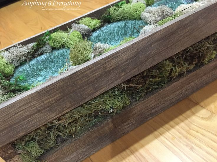 Wood Planter Box using clear ornaments as the vases is the perfect way to display succulents, or any house plants. This planter box is super easy to create