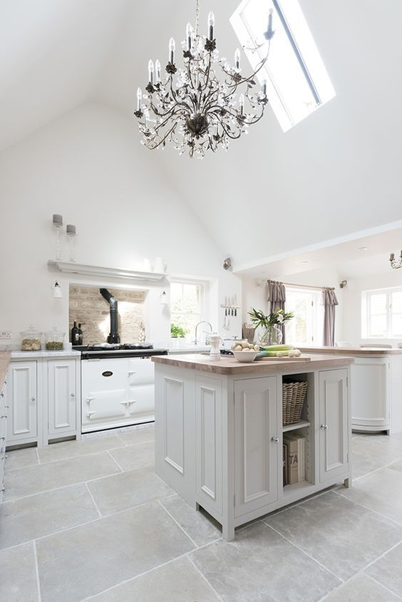 No longer just a cooking amenity, modern kitchens also double as a social space for entertaining! Give your kitchen the dose of glamour it deserves with elegant grey cabinetry and a chandelier. http://www.solidwoodkitchencabinets.co.uk