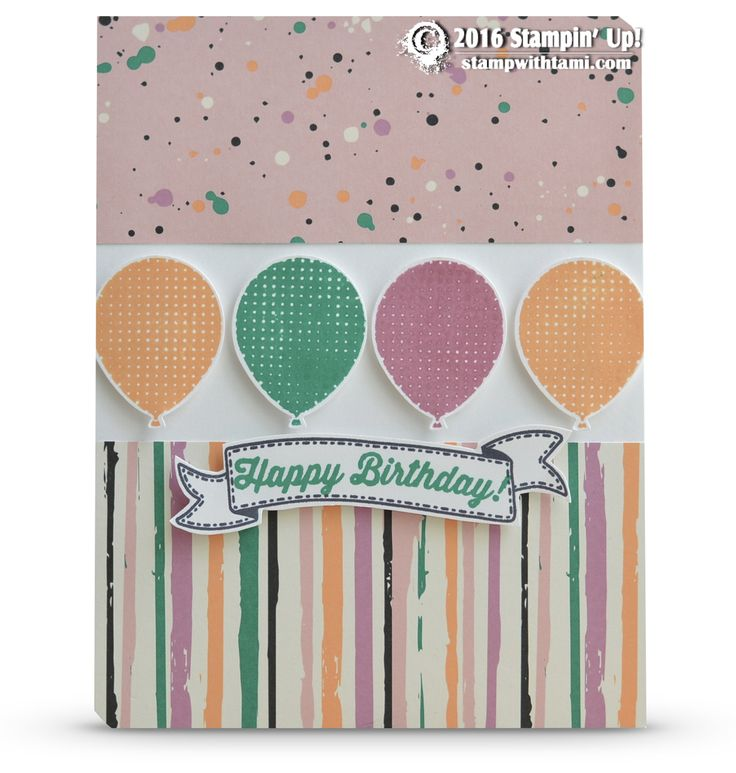 CARD: Birthday Banners Balloon Card | Stampin Up Demonstrator - Tami White - Stamp With Tami Crafting and Card-Making Stampin Up blog