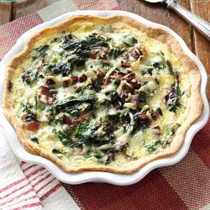 Spring Greens Quiche Recipe from Taste of Home -- shared by Marie Rizzio of Interlochen, Michigan
