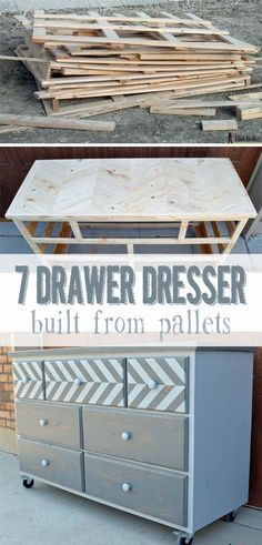DIY 7-drawer dresser built from pallets with a chevron top. Free plans on hertoolbelt.com