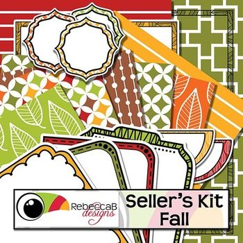 Seller's Kit Fall has a seasonal color theme and contains essential items for sellers to create eye-catching product covers. Place a border or frame over a background, add a label or header and finish it with your title.  Seller's Kit Fall by RebeccaB Designs.This product contains:- 31 U.S.