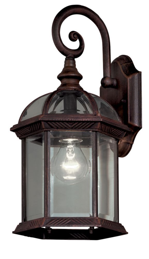 1 Light Weathered Bronze Outdoor Wall Lantern With Clear Bevelled