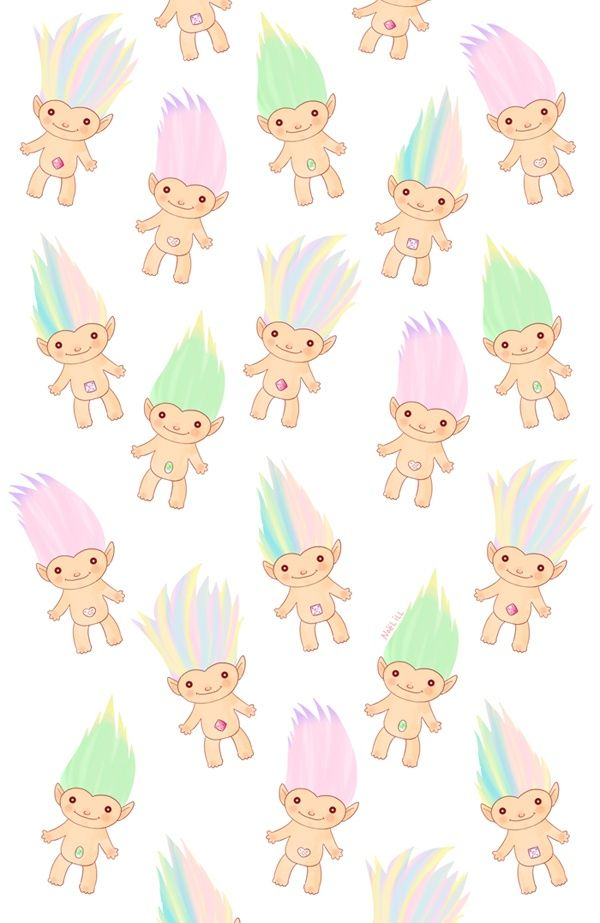troll doll pattern print muñequitos de colores