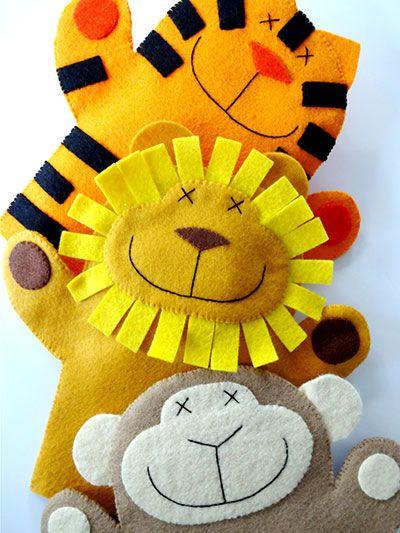 Sewing - Patterns for Children & Babies - Gift Patterns - Lion, Monkey & Tiger Felt Hand Puppets