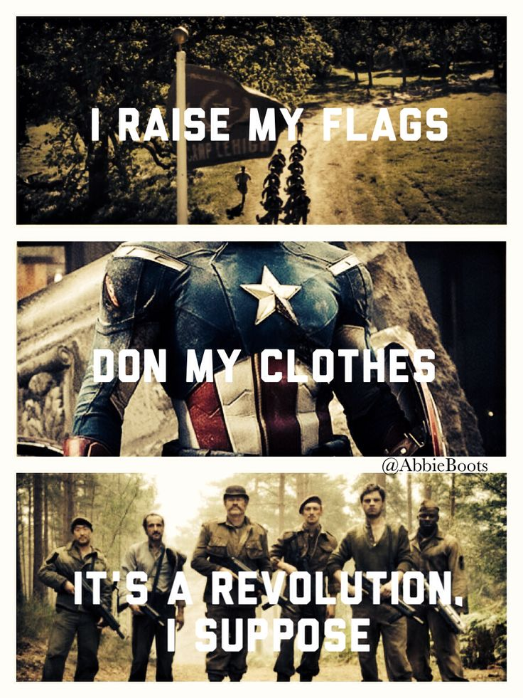 I raise my flags, don my clothes. It's a revolution, I suppose. We're painted red to fit right in. I will always pin Radioactive/Captain America mashups.