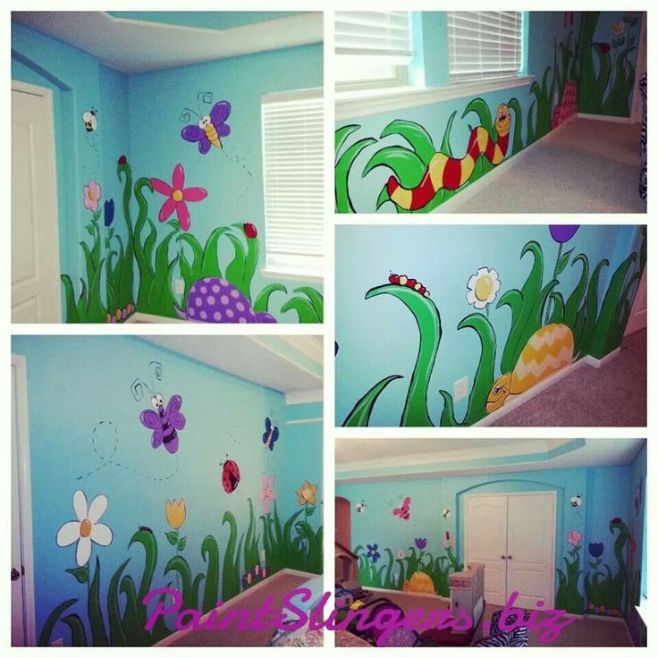 Kids room mural bugs butterflies turtles flowers