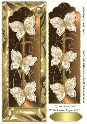 "Grace Butterflies DL Bookmark Topper 6 Set 2 on Craftsuprint designed by Anna Babajanyan - A very elegant DL card topper which I have designed with my latest ""Grace Butterfly Bookmark"" design placed on my ""Antique"" background and decorated with my Rich swirls decorative border design. An extra image of the bookmark layer is included on the sheet which you can use to decoupage either the whole bookmark or just cut out the butterflies and decoupage the butterflies on the topper for a beautiful…"