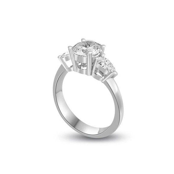 ANELLO TRILOGY CON DIAMANTI 18CT ORO BIANCO | Anello Trilogy con Diamante centrale Taglio Brillante e Diamanti Laterali Taglio Goccia. Il peso totale dei carati per questo anello e` disponibile da 0.30ct a 1.0ct, con il diamante centrale che varia da 0.14ct a 0.40ct e laterali da 00.16ct a 0.60ct. Il diamante centrale e` taglio brillante e i due diamanti laterali sono taglio a goccia montati a griffe. Tutti i diamanti sono disponibili in H, G ed F colore e in VS1 ed SI1 purezza.
