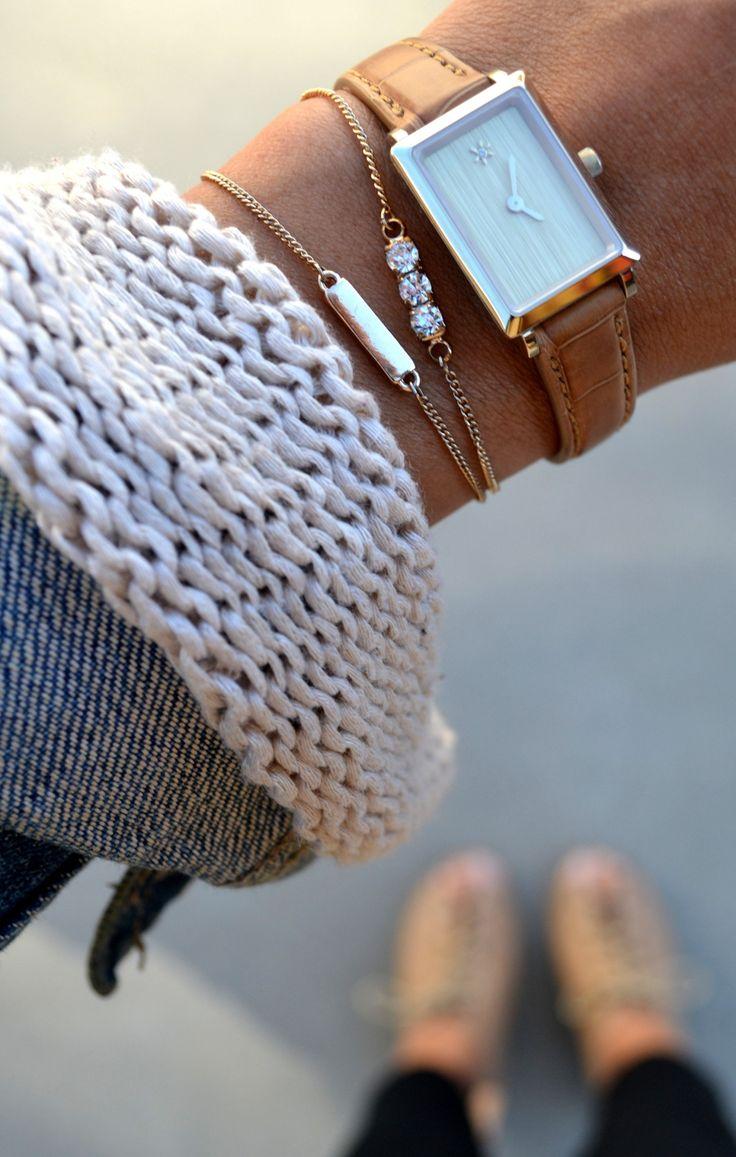 [ad] Love pairing my @Shinola Natural Alligator Strap watch with dainty accessories