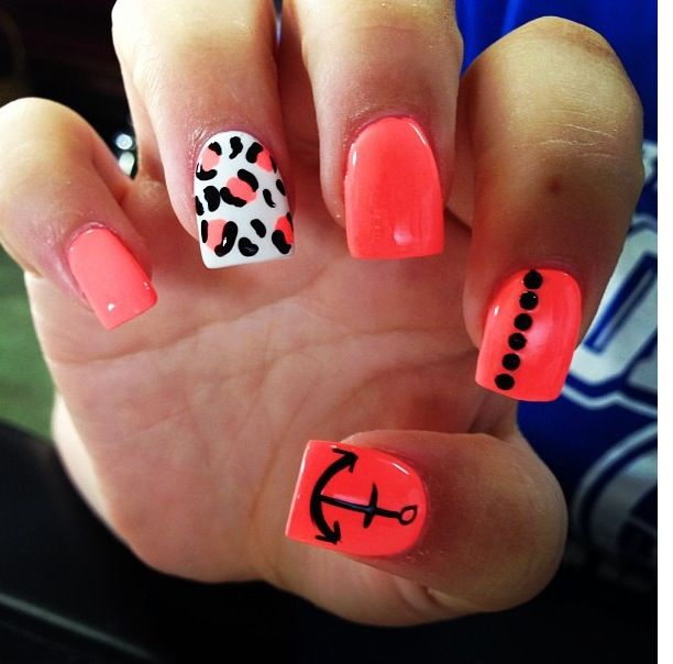 25+ Best Neon Coral Nails Ideas On Pinterest