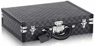 Louis Vuitton President damier graphite briefcase  Product Description DETAILED FEATURES 17.32 x 13.39 x 4.33 inches (Length x Height x Width) - Damier graphite and cross grain lining - Silvery metallic pieces - S-lock reinforced with two trunk latches - Two spaces for files and a laptop compartment - Silvery metallic reinforced corners - Hand held - Removable address label - Leather clochette for holding keys Featuring a secure lock, this damier graphite briefcase holds a laptop and several