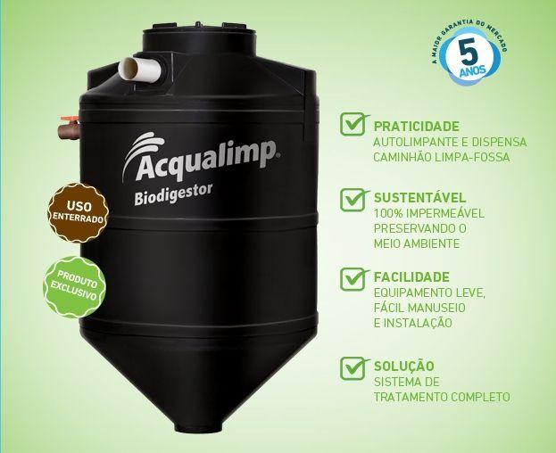Os Biodigestores Acqualimp são mini estações de tratamento de esgoto que possuem um exclusivo sistema de extração do lodo, dispensando o uso do caminhão limpa fossa.