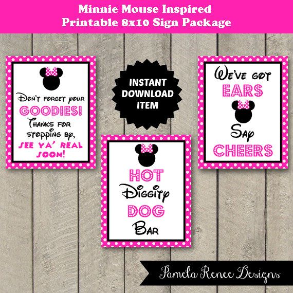 INSTANT DOWNLOAD Printable 8x10 Pink Minnie Mouse Inspired Party Sign Collection. Perfect affordable addition to your Minnie Mouse themed party!