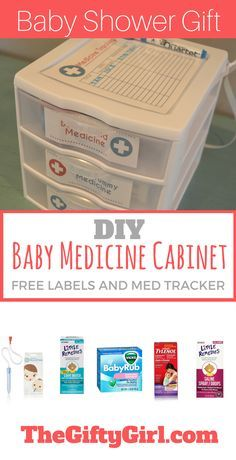 An easy and useful DIY gift for new parents...a baby medicine cabinet stocked with all the essentials! Get all the info and free printable labels and medicine tracker. Makes a great baby shower gift!