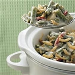 Slow Cooker Green Bean Casserole Recipe:  Original recipe makes 8 servings Change Servings      2 (16 ounce) packages frozen cut green beans      2 (10.75 ounce) cans cream of chicken soup      2/3 cup milk      1/2 cup grated Parmesan cheese      1/4 teaspoon salt      1/4 teaspoon ground black pepper      1 (6 ounce) can French-fried onions, divid