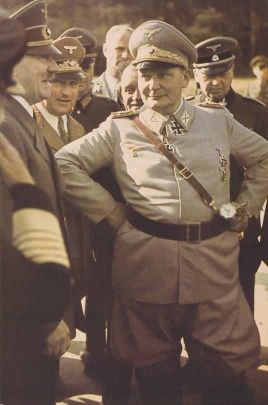 Hermann Göring at Hitler's 53rd birthday, Wolf's Lair, April 20, 1942. Ferdinand Porsche seen just behind