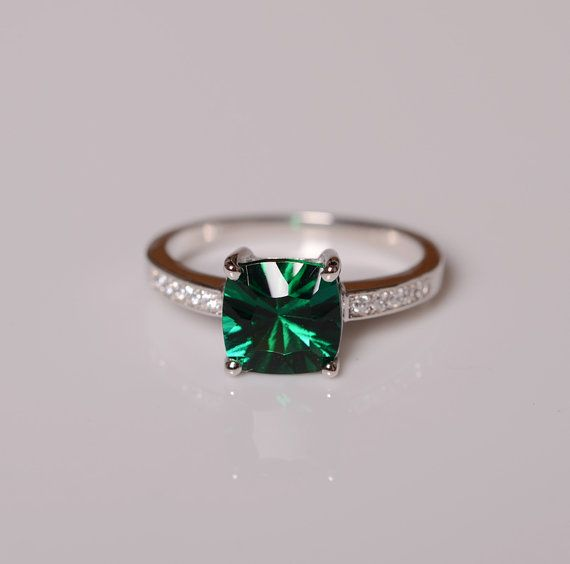 Emerald Ring Gemstone Engagement Ring Sterling by KnightJewelry