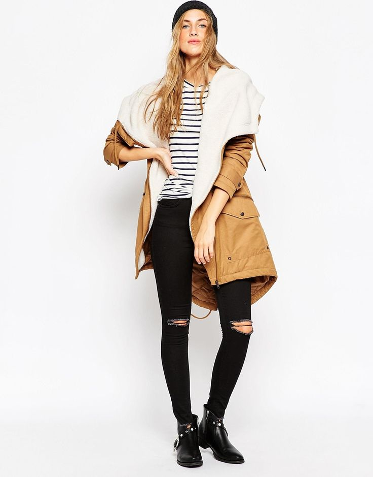 ASOS Parka with Waterfall Front and Borg Liner