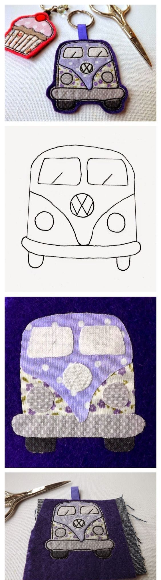Tutorial llavero fieltro furgoneta Volskwagen con patrón