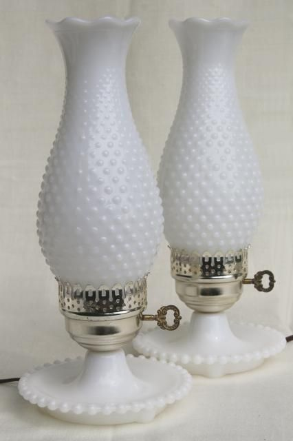 pair vintage milk glass lamps w/ beaded edge lamp bases, hobnail glass chimney shades