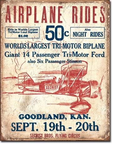 Secrist Flying Circus Airplane Rides Tin Sign   Aviation   Tri-motor Bi-Plane   Retro   A Simpler Time   A Simpler Time