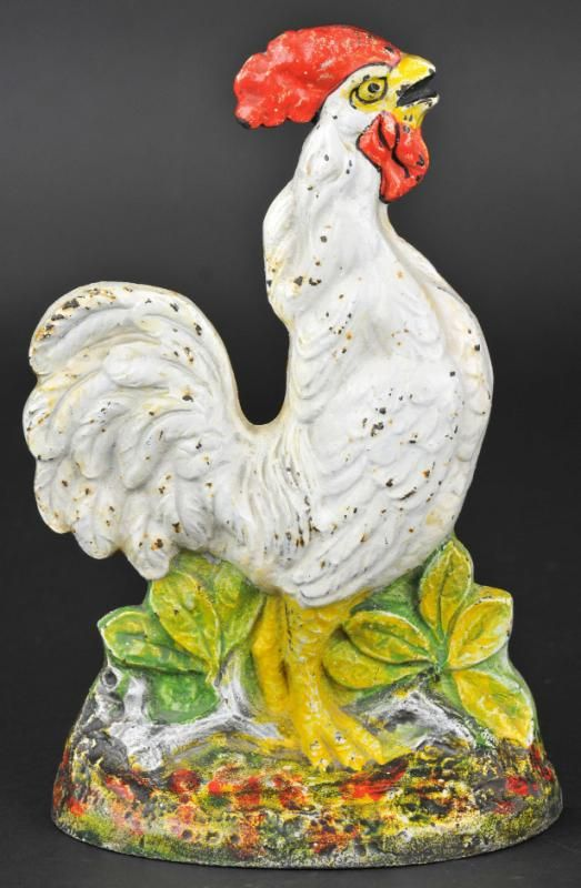 CROWING ROOSTER DOORSTOP Depicts White Rooster Crowing With Embossed  Flowers On Base, Beautiful Colors, Beautiful Design, Colorful Piece.