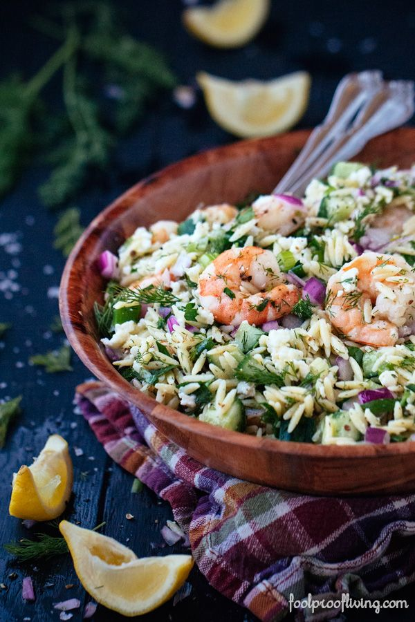 Orzo and Roasted Shrimp flavored with red onions, dill and feta cheese. An easy to make and delicious salad perfect for summer time. #shrimp #salad #recipe #picnicfood #brunch