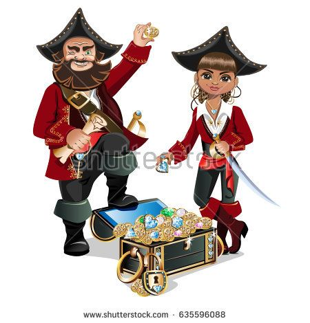 Treasure Chest and Pirate. vector illustration
