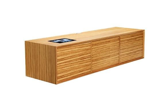 Model 230 in oak veneer with 3 oak veneer doors and iPad pond