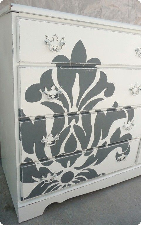 Shabby chic styling, and neo classic Fleur de lis design. Beautiful combination.: Guest Room, Craft, Painted Furniture, Creative Idea, Damask, Dressers, Diy