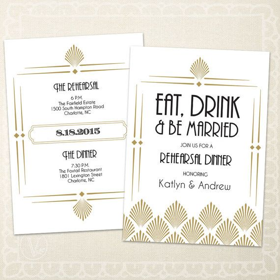 Art Deco Wedding Rehearsal Dinner Invitation by VineWedding