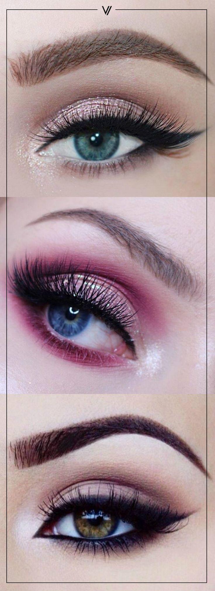 Prueba tonos rosados para lucir una mirada coqueta.  #Ojos #Sombras #Makeup
