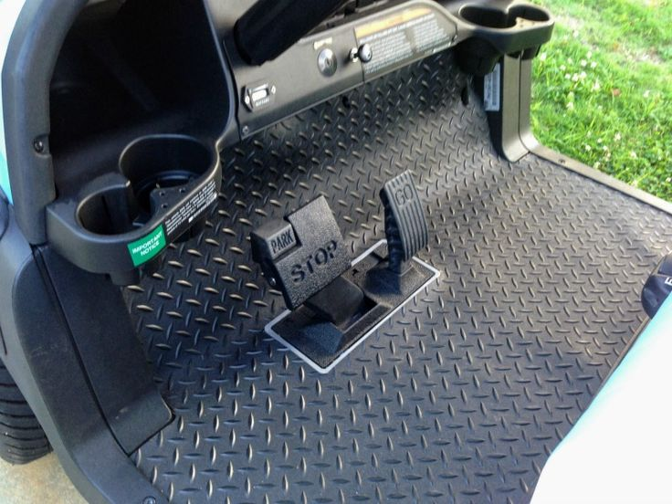 Easy to maintain rubber golf cart floor mats provide a finished look to any golf cart.  Many are pre-cut for a quick and easy install.