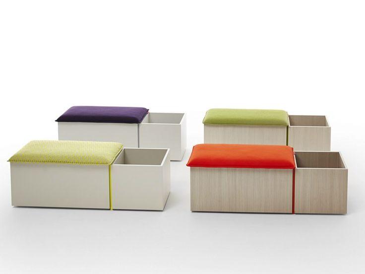 Banc en bois avec rangement pour enfants PANK Collection Nidi by Battistella | design Edoardo Gherardi